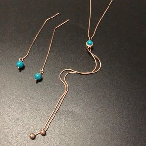 STERLING ROSE GOLD TURQUOISE MILOR ITALY SET